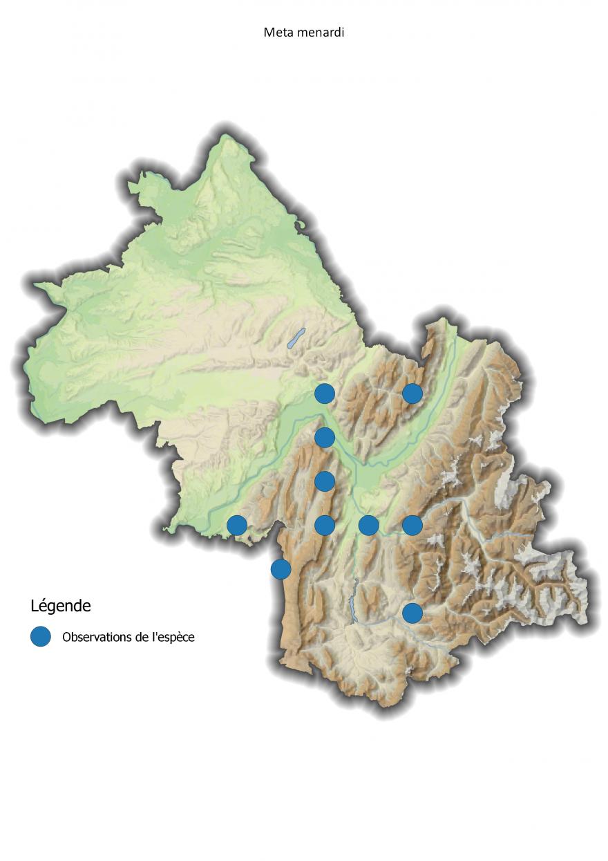 Carte de répartition de la Meta menardi en Isère - Nature Isère.