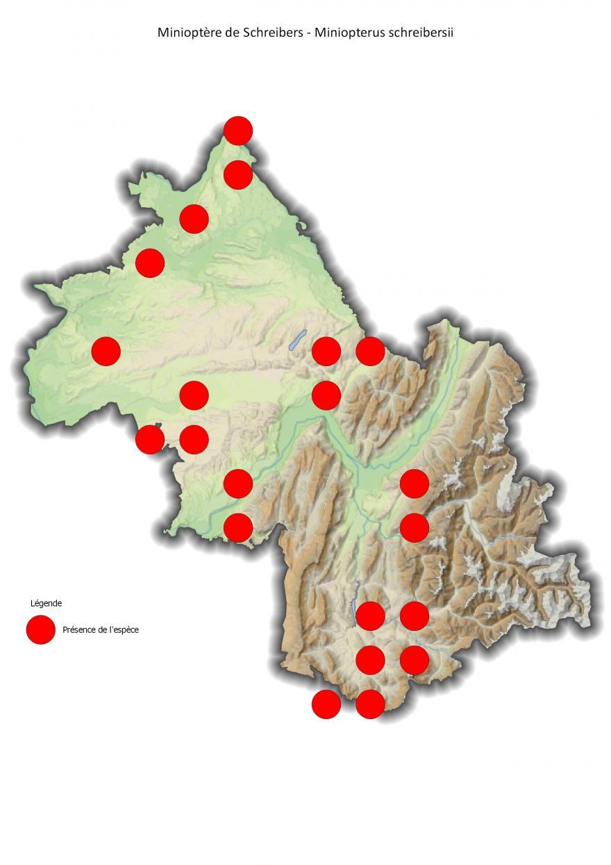 Répartition du minioptère de Schreibers en Isère (2001-2016).