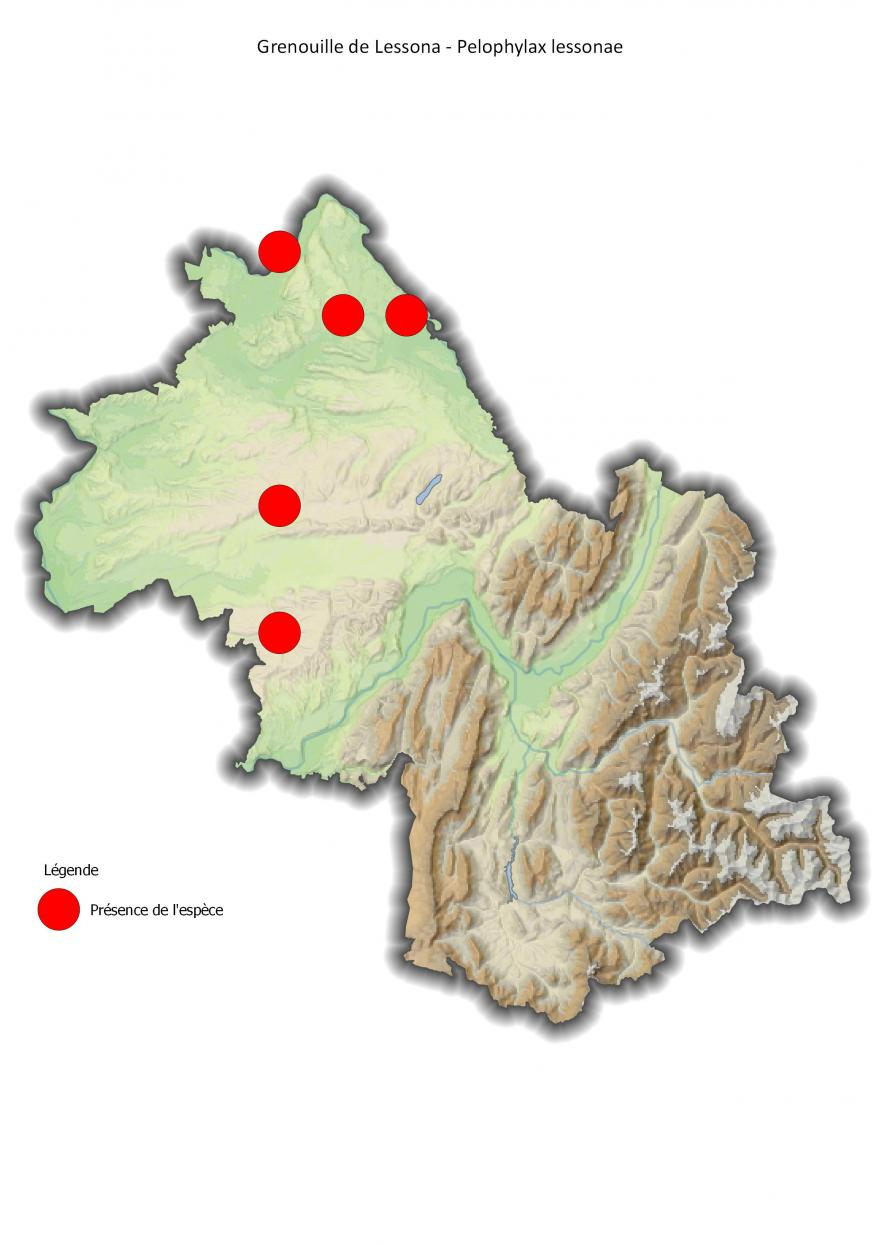 Répartition de la grenouille de Lessona en Isère (2001-2016).