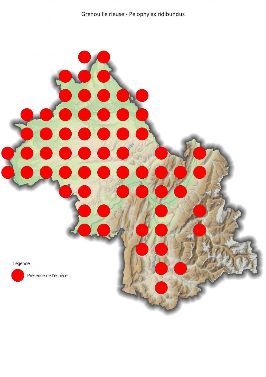 Répartition de la grenouille rieuse en Isère (2001-2016).