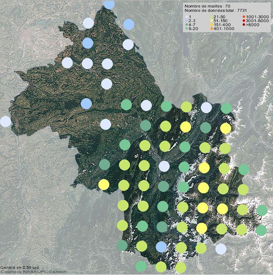 Présence du chamois en Isère (2001-2021)