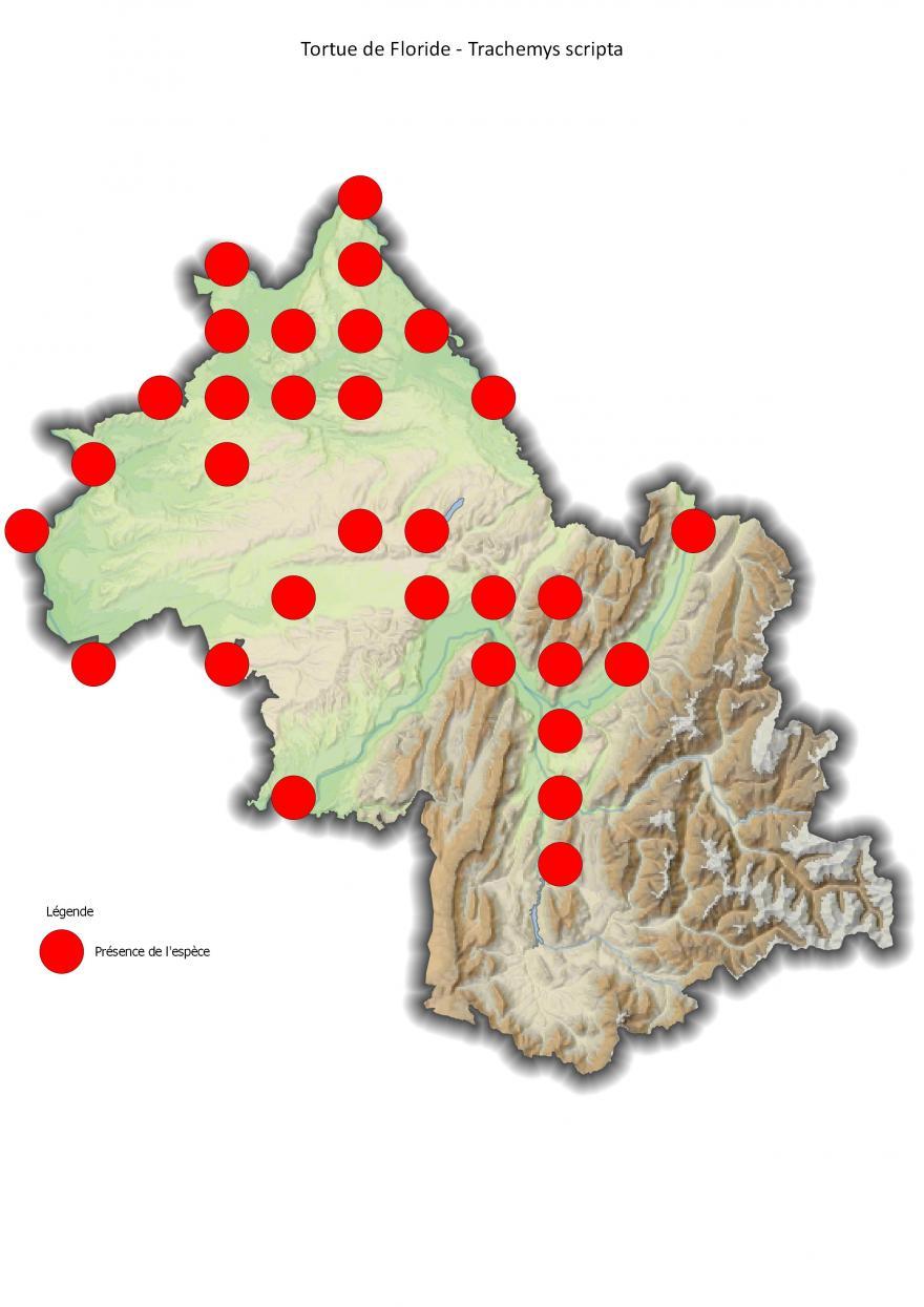Répartition de la tortue de Floride en Isère (2001-2016).