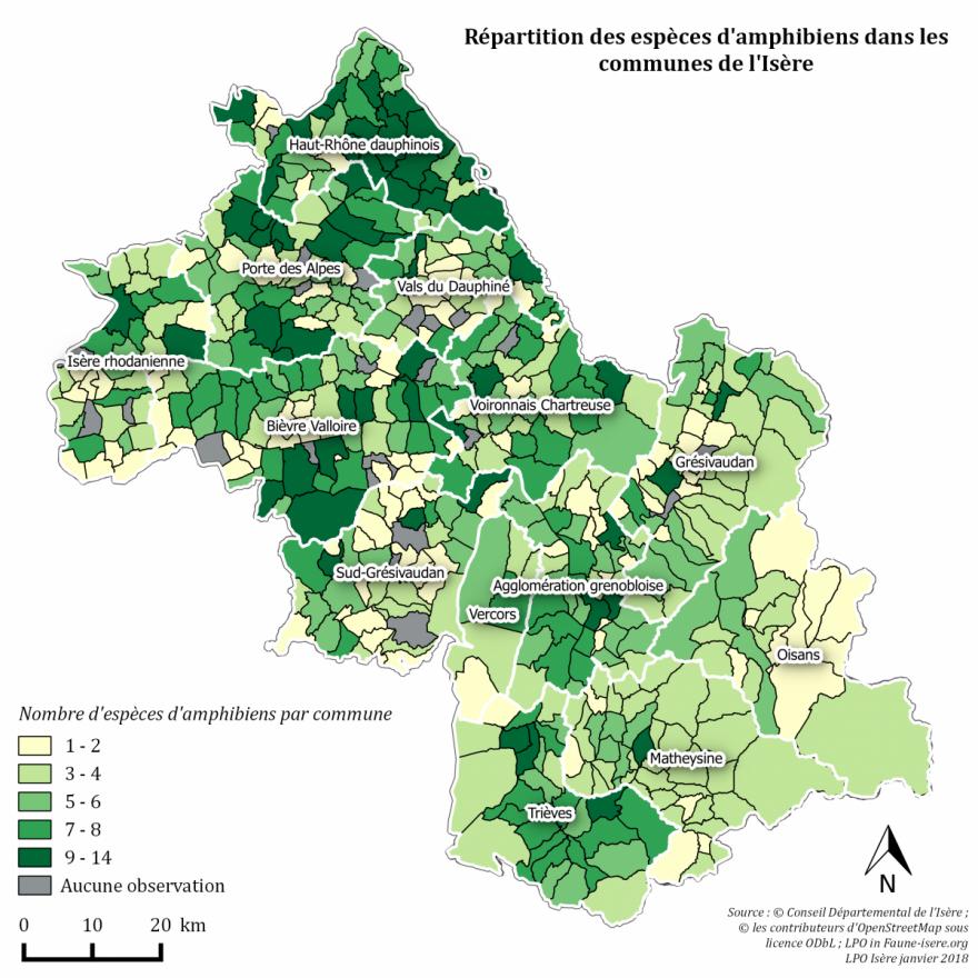 Carte amphibiens en Isère, LPO Isère