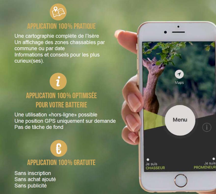 """Flyer application """"Jour de chasse Isère"""""""