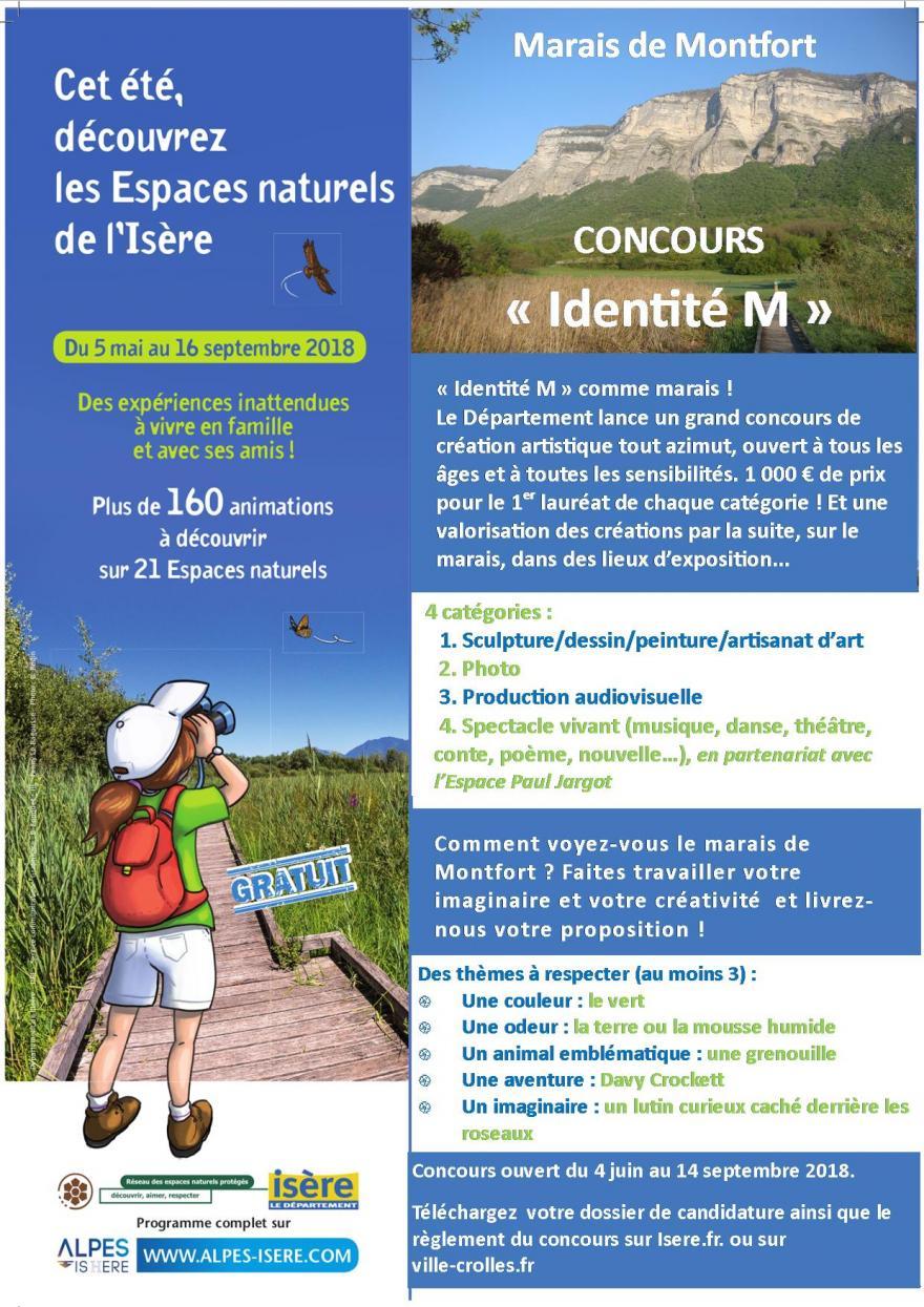 """Flyer du concours """"Identité M"""" comme marais de Montfort"""