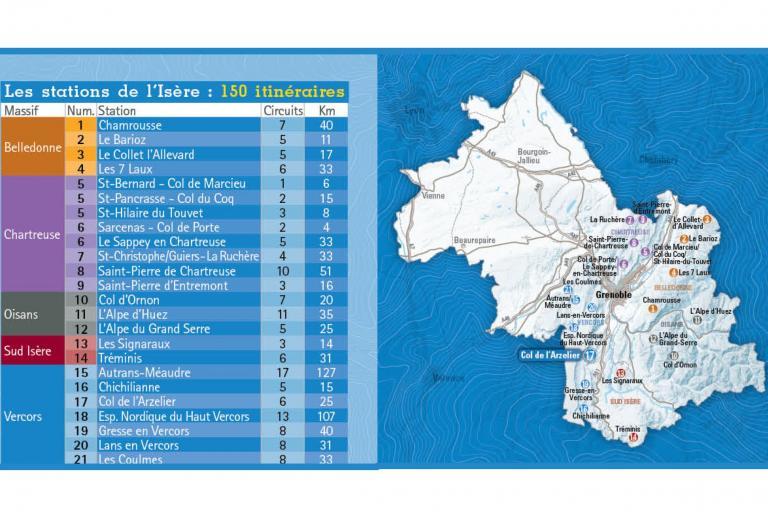 Carte des circuits raquettes, département de l'Isère, Isère Outdoor