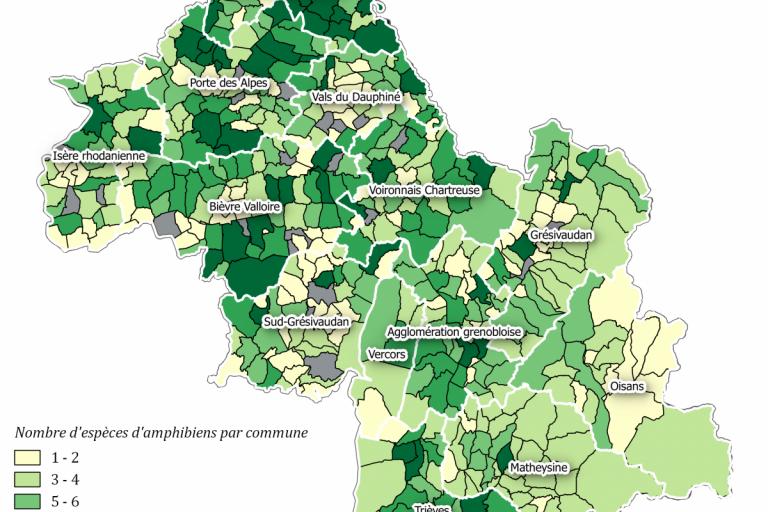 Carte de répartition des espèces d'amphibiens dans les communes de l'Isère, LPO Isère
