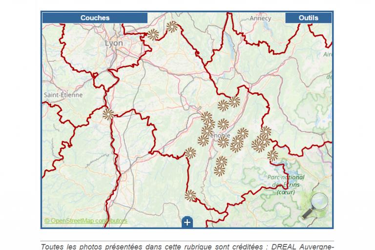 Carte des sites classés de l'Isère, extrait du site de la DREAL, sur Nature isère