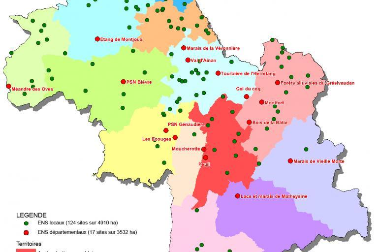 Carte des espaces naturels sensibles de l'Isère (départementaux et locaux), sur nature isère