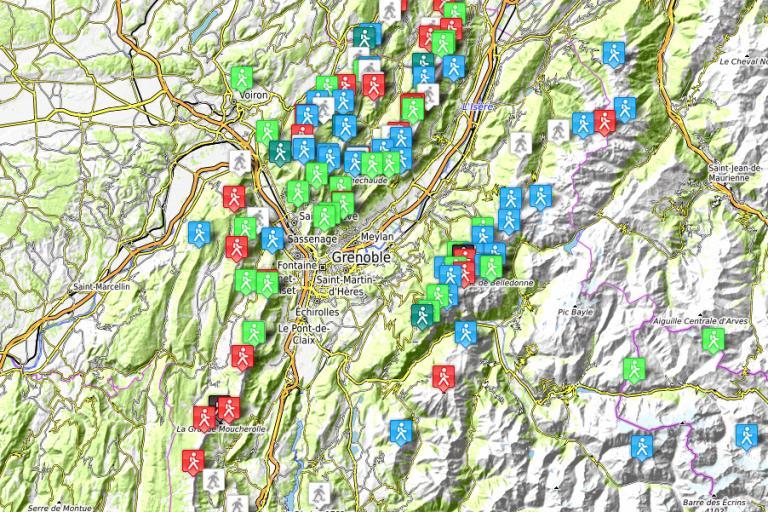 Carte des randonnées en Isère - Isère Rando