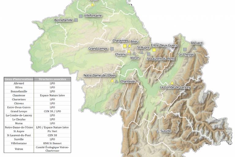 Carte de répartition des lieux d'interventions pour la sauvegarde des amphibiens en Isère, LPO Isère