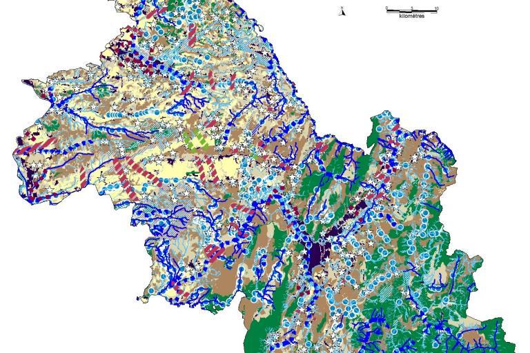 Carte du schéma régional de cohérence écologique (SRCE) en Isère