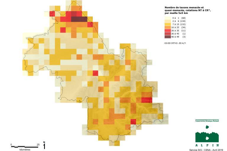 Nombres de plantes menacées et quasi-menacées en Isère.