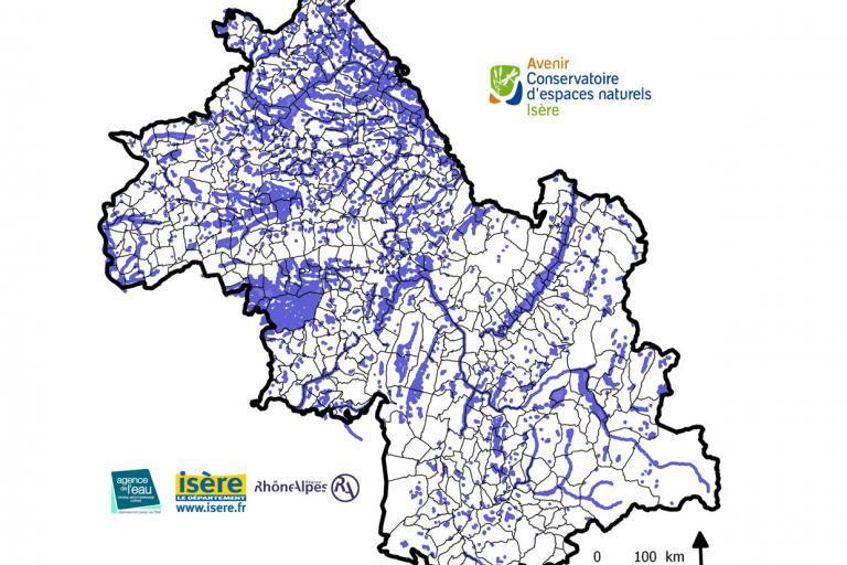 Carte des zones humides de l'Isère