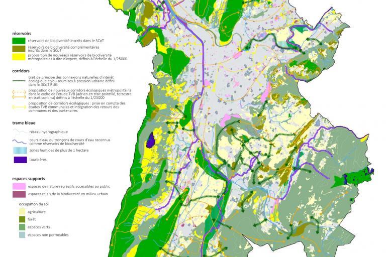Carte de la Trame Verte et Bleue de la métropole grenobloise sur nature isère