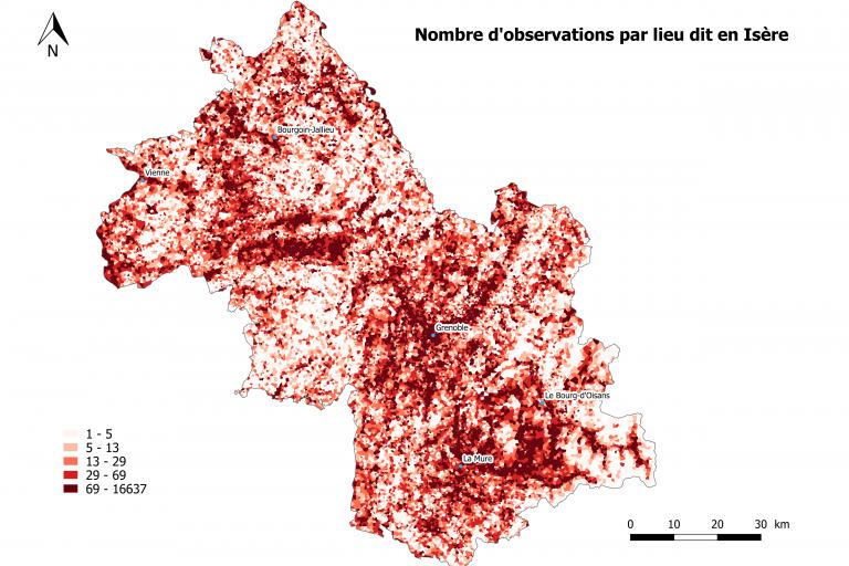 Nombre d'observations de la faune en Isère par lieu dit