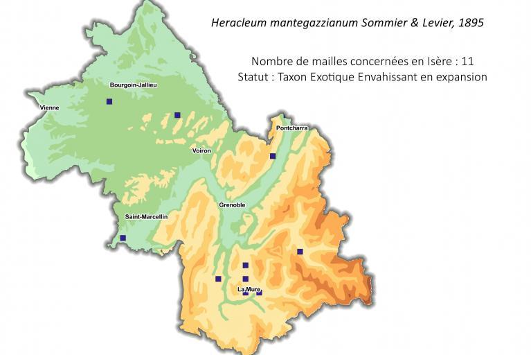 Aire de répartition de la Berce du Caucase en Isère