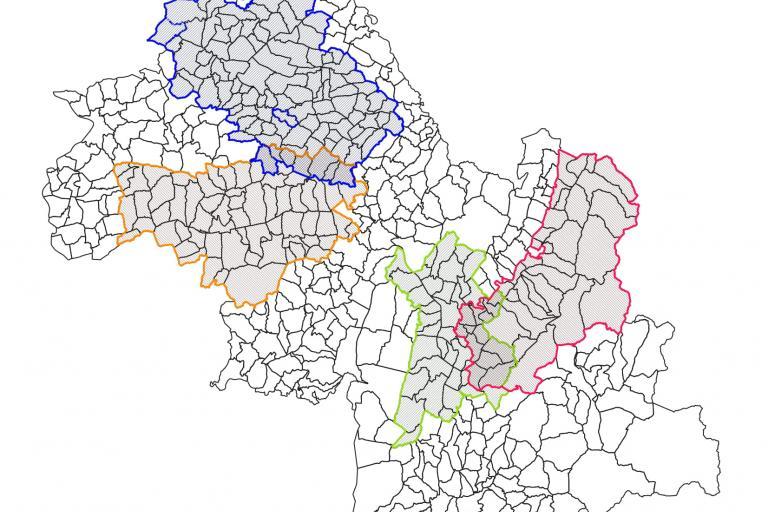 Carte des quatre Contrats Verts et Bleus en cours ou en construction en Isère