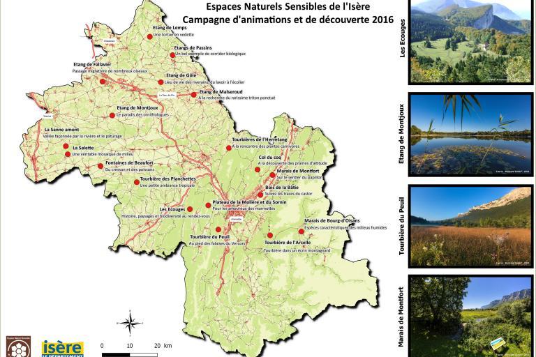 A la découverte des espaces naturels sensibles de l'Isère - les ENS où se déroulent les animations - Carte du Département de l'Isère