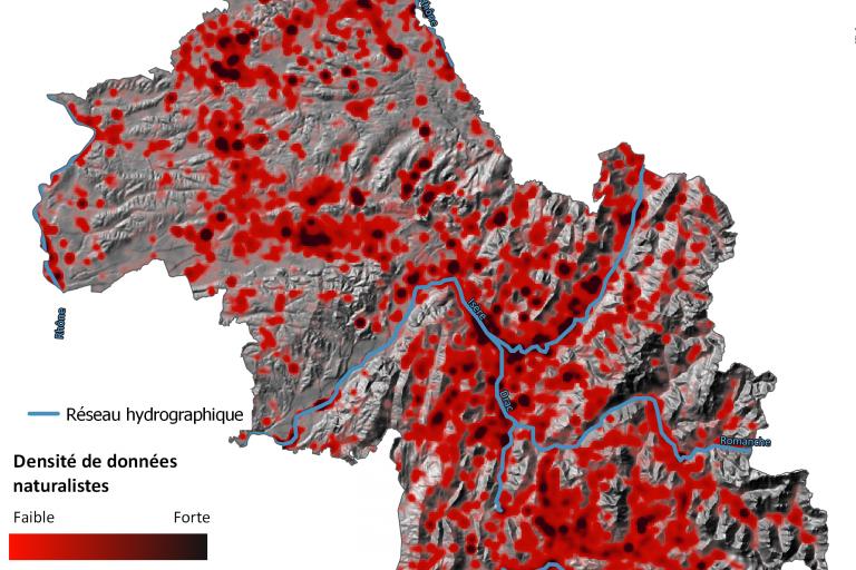 Carte où se trouvent les observations des animaux en Isère, faune isère 2016