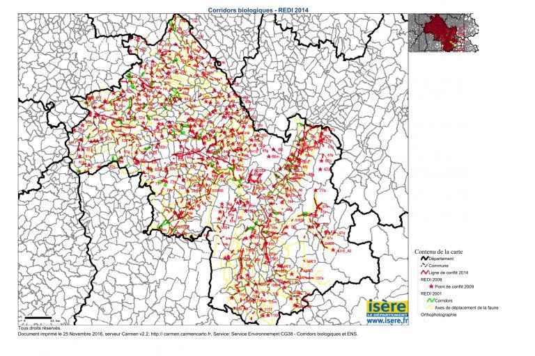 Carte du Réseau écologique départemental de l'Isère 2014, extraction de la base de données Carmen