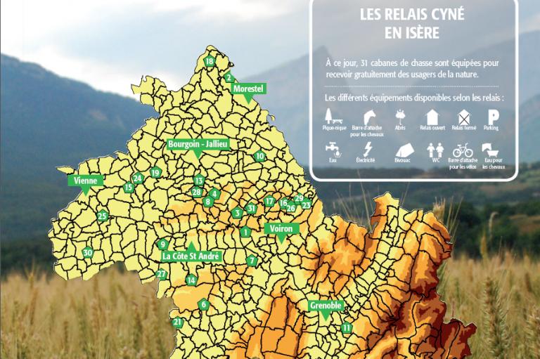 Carte des relais cyné, Nature Isère