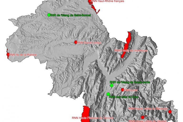 Carte des réserves naturelles de l'Isère, par le Département de l'Isère