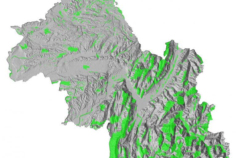 Carte des zones naturelles d'intérêt écologique, faunistique et floristique (ZNIEFF) de type I en Isère.