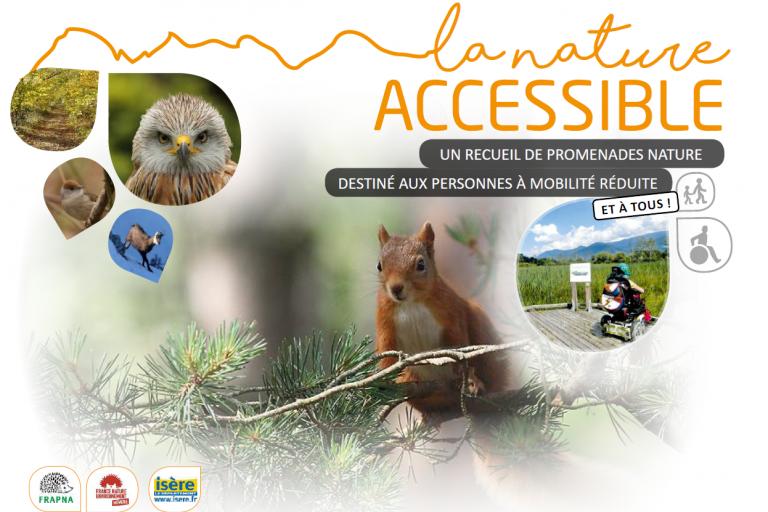 Première page de « La Nature accessible », un guide de balade pour la mobilité réduite, nature isère