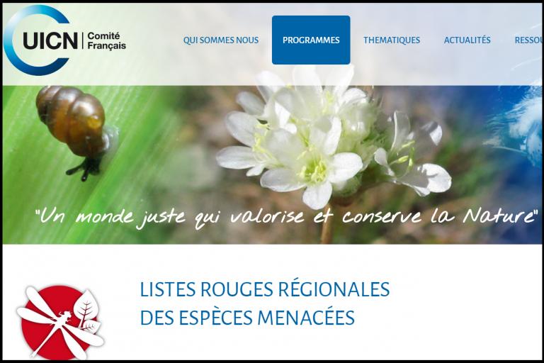 Capture écran page internet UICN, nature isère