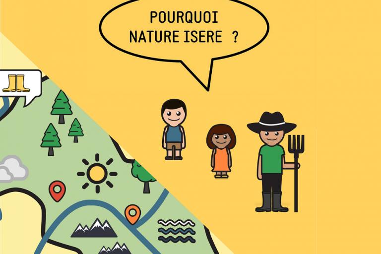 Dessin avec la carte de l'Isère et des personnages qui se demandent pourquoi nature isère a-t-il été créé.