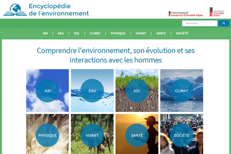 Page d'accueil du site de l'encyclopédie environnement, nature isère